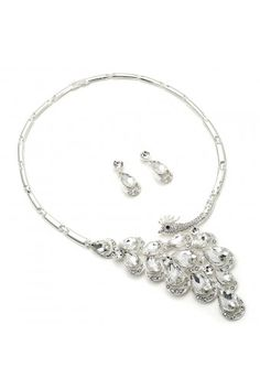 Come find the right jewelry for your wedding dress or bridesmaids. #wedding #bridal #fashionjewelry Silver Crystal Rhinestones in Chicken Head form with Crystal Teardrops in Tail Feather Formation Necklace & Dangle Crystal Rhinestone Teardr...