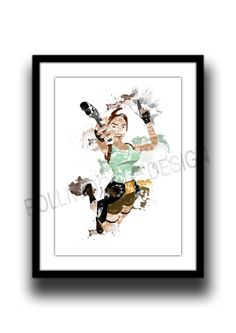 Lara Croft Print Inspired by the Tomb Raider Playstation Game series digital watercolour art playstationpsx
