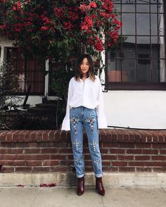 Oversized sleeves and blinged out denim vibes  by songofstyle