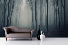 Grey Mist Forest Mural Wallpaper