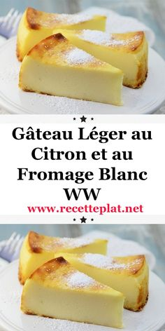 Here is the recipe for the WW light lemon and cottage cheese cake, a good light cake, soft as desired and flavored with lemon, easy and simple to make for dessert or a light snack at home. Ww Desserts, Diabetic Desserts, Diabetic Recipes, Delicious Desserts, Cake Recipes, Dessert Recipes, Light Cakes, Atkins, Food Cakes