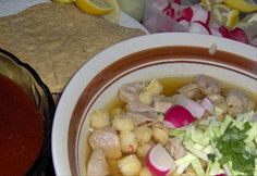 Authentic Mexican Pozole.  Another regular in my household.  I have always loved Mexican food, so it was perfect that I married into a Mexican family :)  I make everything from scratch, including my tortillas, beans, and salsa!