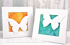 butterfly cards ... luv the look of the huge white butterfly die cuts against the gorgeous watercolor backgrounds ...