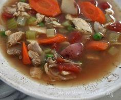 Homemade broth, roasted chicken, fresh veggies