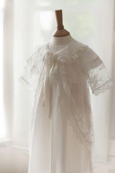 Lace and Swiss Batiste Christening Gown. Baby Girl Baptism Dress https://www.etsy.com/shop/BelleBebeGowns?ref=pr_shop_more
