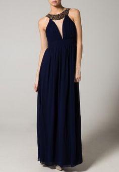 Vestido azul marino con escote en V y collar en pedrería de colores. Little Mistress