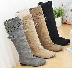 Hot Women Ladies Winter Biker Style Lace Low Heel Wide Knee High Boots Plus Size | eBay
