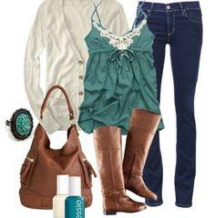 White sweater and greenish top ❤