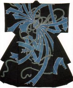 Kimono-shaped comforter  Edo Period, 19th Century  Indigo dyeing  Cotton  Length 197 cm