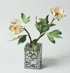 Tree peony blossoms in a Chinese vase. By Vladimir Kanevsky