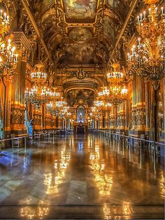 The very understated Opera House in Paris.  Opera House  by Christine Workman--I need to go there! Phantom of the Opera anyone?