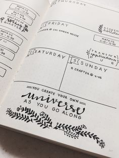 Last week's bullet journal layout! I tried out a black and white theme. I didn't…