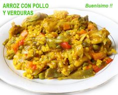 arroz con pollo y verduras Fried Rice, Risotto, Meals, Chicken, Cooking, Breakfast, Healthy, Ethnic Recipes, Food