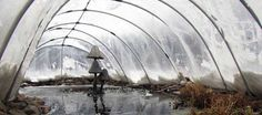 Each winter we cover our koi pond with a winter pond cover. This allows the sunshine in and traps the heat, while keeping the cold winds off the pond Aquaponics Diy, Aquaponics System, Backyard Garden Design, Ponds Backyard, Statues, Pond Covers, Container Pond, Outdoor Water Features, Garden Fountains