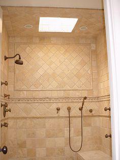 Travertine Shower Ideas travertine tile shower straight on bottom, then accent liner, then