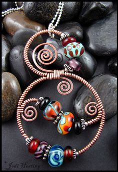 """""""Gypsy Queen"""" Lampwork , copper, and sterling silver pendant I made. Available on my website www.beadworx.com"""