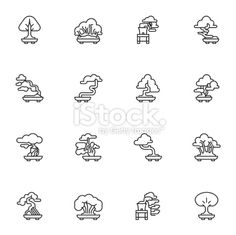 Bonsai Tree Icons - Light Royalty Free Stock Vector Art Illustration