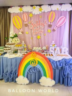 Our version of dessert buffet backdrop for clouds+rainbow+hit air balloon theme Fourth Birthday, Birthday Cake, Dessert Buffet, Hot Air Balloon, Party Favors, Party Themes, Backdrops, Balloons, Rainbow