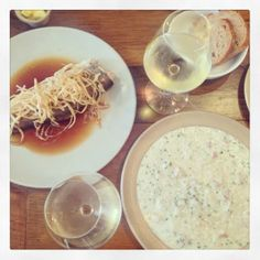 Diary 237: http://alicewonderland2.blogspot.co.uk/2014/02/diary-237-there-was-nowhere-to-go-but.html  eel risotto & a trout:)