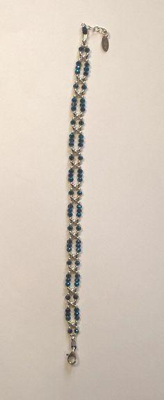 Items similar to Silver bracelet and blue swarovski crystal on Etsy - Bracelet argent et cristal de swarovski bleu Swarovski Crystal Beads, Swarovski Jewelry, Silver Beads, Beaded Jewelry, Silver Jewelry, Handmade Jewelry, Swarovski Bracelet, Jewellery, Handmade Silver