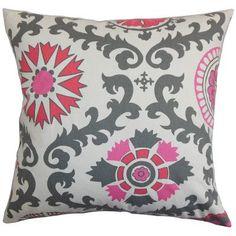 "The Pillow Collection Kaula Cotton Throw Pillow Color: Flamingo, Size: 18"" x 18"""