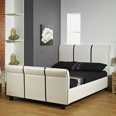 LUXURY Classic White & Black 6ft Super Kingsize HANDMADE FAUX LEATHER BED FRAME