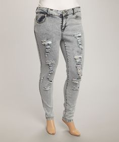 Look at this #zulilyfind! Light Wash Acid Distressed Denim Jeans - Plus by JALATE #zulilyfinds