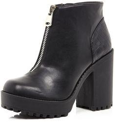 719bbbdf8902 River Island Black Zip Front Block Heel Ankle Boots in Black - Lyst Block Heel  Ankle