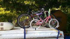 Pop up camper bike rack Pop Up Truck Campers, Pickup Camper, Camper Van, Diy Bike Rack, Bicycle Rack, Apache Camper, Tent Camping, Camping 101, Camping Stuff