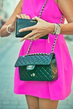 Hot pink and a chanel bag!