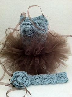 Infant Hand Crocheted Tutu Dress with matching adjustable headband,