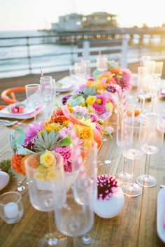 Pop-Up wedding on the Santa Monica Pier by Handmade Events with floral and succulent centerpiece.