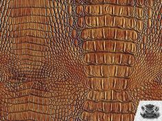 """Vinyl Crocodile Crock BRONZIE Fake Leather Upholstery Fabric / 54"""" Wide / Sold By the Yard"""