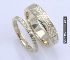 So good - his and her wedding bands with the others fingerprint. Not gonna lie, this is pretty cool. | CHECK OUT MORE TO DIE FOR PICTURES OF NON TRADITIONAL WEDDING VOWS AT WEDDINGPINS.NET| #weddings #weddingvows #vows #tradition #nontraditional #events #forweddings #iloveweddings #romance #beauty #planners #fashion #weddingphotos #weddingpictures