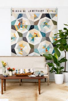 """Octagon Shimmer"" quilt designed by Jennifer Sampou. Features Kona Cotton and Studio Stash Yarn Dyes and Shimmer by Jennifer Sampou."