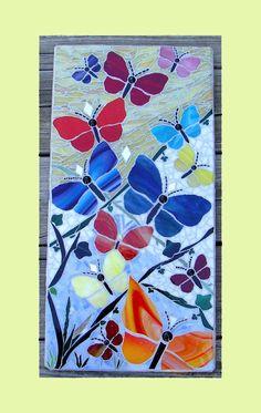 Butterfly Garden Original Mosaic Art Wall Hanging Mosaic Panel Mosaic Tray, Glass Mosaic Tiles, Mosaic Wall, Mosaic Tables, Mosaic Flower Pots, Mosaic Garden, Stained Glass Patterns, Mosaic Patterns, Art Mur