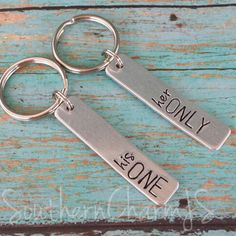ON SALE -- Couples Key Chain Set -- his one / her only couples key chain