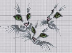 Cross-stitch Cats.. no color chart available, just use the colors on pattern chart as your guide.