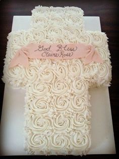 Rose Baptism Cross Cake