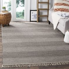 Shop For Safavieh Montauk Handmade Striped Flatweave Ivory Anthracite Cotton Rug 6 X