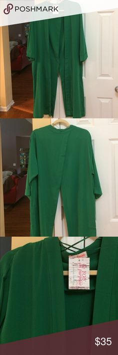 """Emerald green envelope back long jacket. L. NWT """"Be You On Purpose"""" Boutique emerald green, long envelope jacket. Two pockets. Large and new with tags. Tops"""
