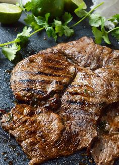 Nothing beats a great Carne Asada Recipe for the summertime grill season! This Carne Asada is made with thinly sliced round tip steak marinated in orange, lime, cilantro and garlic. Perfect for wraps, tacos, burrito bowls or any Mexican food dish you can think of!