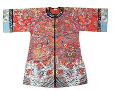 A red ground silk embroidered robe, Qing Dynasty or later