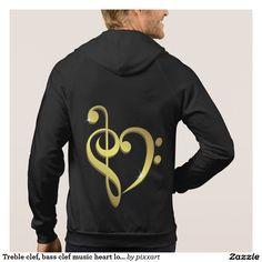 Treble clef, bass clef music heart love hoodie