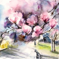 Original Watercolor Painting Blooming Magnolia Pink by CanotStop