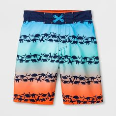 If your kid loves dinosaurs, these Swim Trunks from Cat & Jack™ will be a perfect pick. The swim trunks fade from blue to red, with rows of navy dinosaurs marching across for a fun look. These swim trunks will look just as good worn as shorts with his favorite T-shirts as they will in the water —and a mesh lining ensures he stays comfortable either way. With a 50+ UPF rating, you can feel good that these swim trunks will also help protect his skin from the sun...
