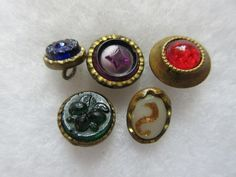Lot of 5 Antique~ Vtg Victorian Gents Metal Waistcoat BUTTONS w/ GLASS Inserts