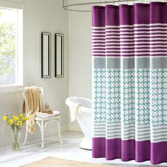 ID Lacey Modern Purple Shower Curtain