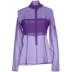 Space Style Concept Blouse ($47) ❤ liked on Polyvore featuring tops, blouses, purple, silk top, purple silk blouse, purple silk top, purple top and turtle neck tops