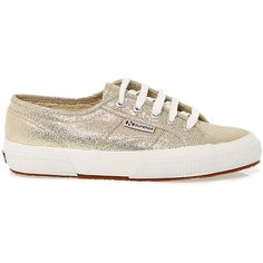 Superga Sneakers ($81) ❤ liked on Polyvore featuring shoes, sneakers, superga, gold shoes, superga sneakers, gold sneakers and rubber sole shoes
